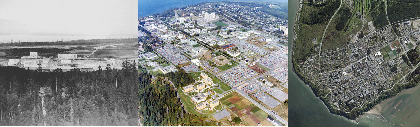 Three aerial photos of the UBC Campus from 1920, 1970 and 2018