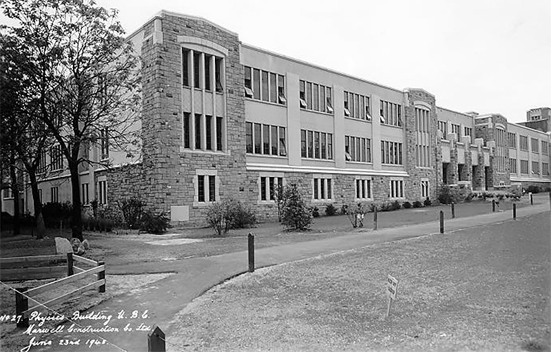 An archival photo of the Physics building