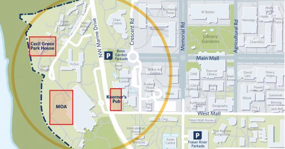 A map showing North Campus