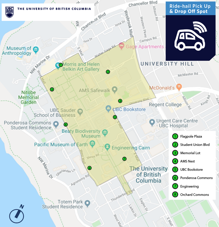 Map showing ride-hailing pick-up spots on campus