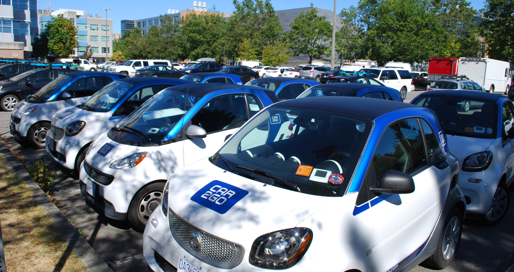 Car2Go (ShareNow) vehicles in a parking lot