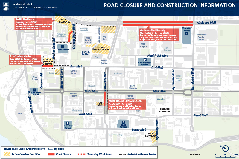 A map of areas of construction on the UBC campus. Read below for more information.