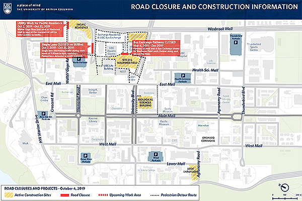UBC road closures and construction map