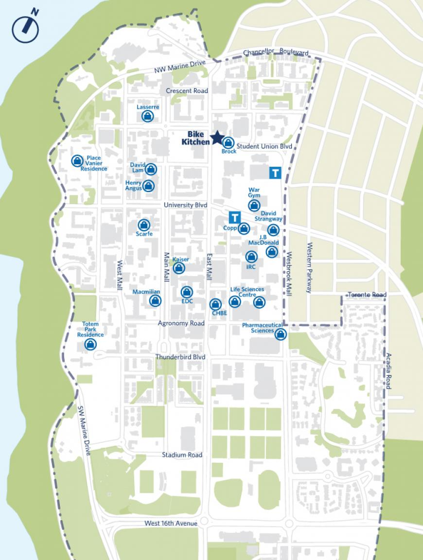 Map of UBC Vancouver's Bike Storages