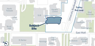map showing placement of the student union building