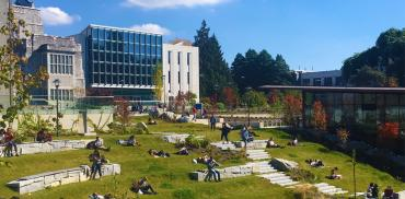 Students sit on the grass at Library Gardens