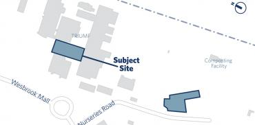 Map showing the TRIUMF Ariel building placement