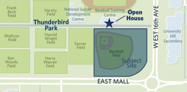 Map of the area surrounding Thunderbird Park